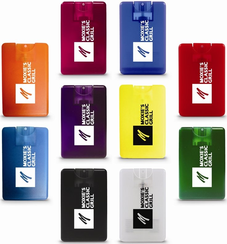 Credit Card Spray Hand Sanitizer Colors Image