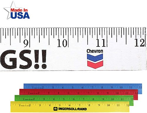 12 Inch Colored Enamel Finish Wood Ruler